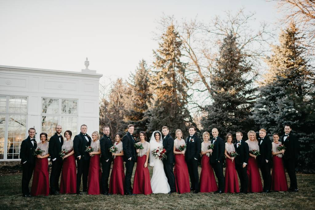 Red wedding color theme for bridal party