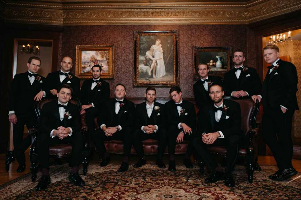 Groomsmen at castle wedding reception venue
